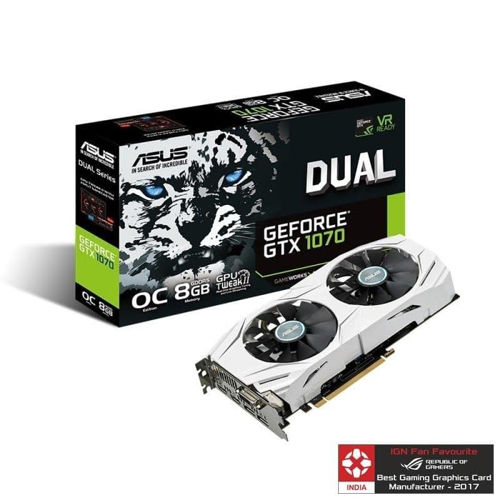 Asus Pascal Series GTX 1070 Dual OC 8GB Graphic Card price in india features reviews specs