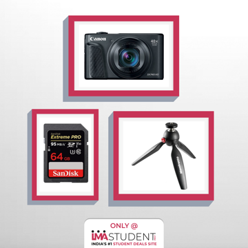 youtuber video kit,camera,memory card,manfrotto pixi tripod