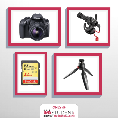 youtuber video kit,camera,memory card,rode mic,manfrotto tripod