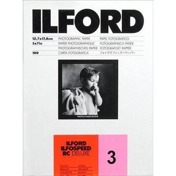 "buy Ilford ILFOSPEED RC DeLuxe Paper (1M Glossy, Grade 3, 5 x 7"", 100 Sheets) in India imastudent.com"