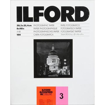 "buy Ilford ILFOSPEED RC DeLuxe Paper (1M Glossy, Grade 3, 8 x 10"", 100 Sheets) in India imastudent.com"