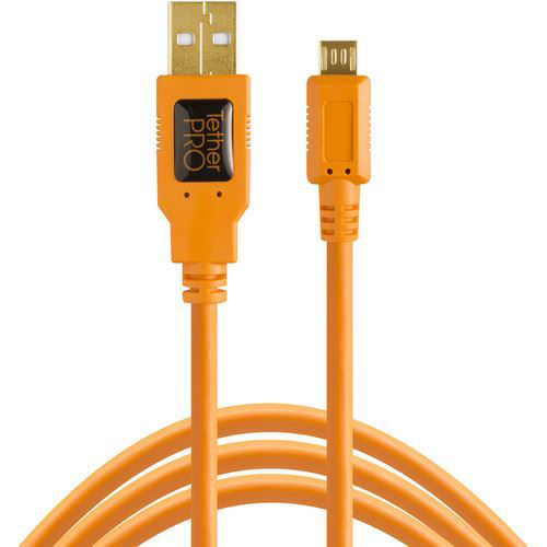 buy Tether Tools TetherPro USB 2.0 A Male to Micro-B 5-Pin Cable (15', Orange) in India imastudent.com