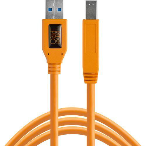 buy Tether Tools TetherPro SuperSpeed USB 3.0 Male A to Male B Cable (15', High-Visibility Orange) in India imastudent.com