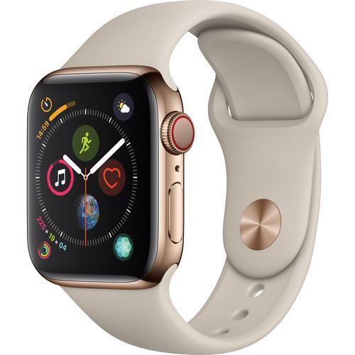 Apple Watch Series 4 (GPS + Cellular, 40mm, Gold Stainless Steel, Stone Sport Band) price in india features reviews specs