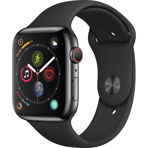 Apple Watch Series 4 (GPS + Cellular, 44mm, Space Black Stainless Steel, Black Sport Band) price in india features reviews specs