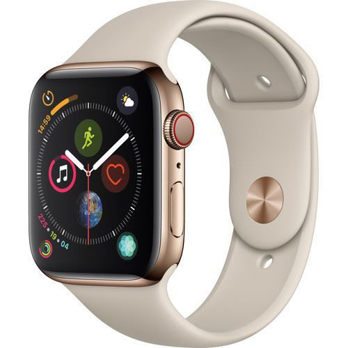 Apple Watch Series 4 (GPS + Cellular, 44mm, Gold Stainless Steel, Stone Sport Band) price in india features reviews specs
