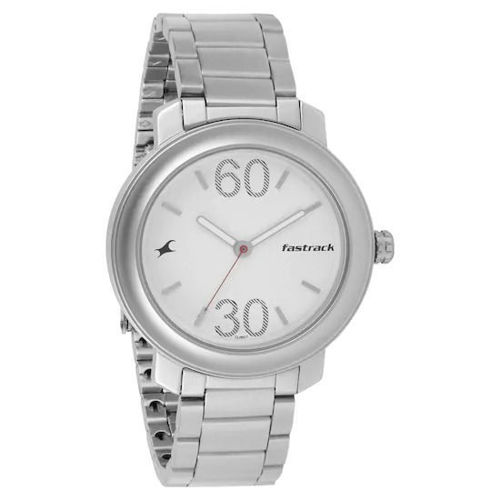 Fastrack SILVER DIAL STAINLESS STEEL STRAP WATCH - 3222SM01 price in india features reviews specs