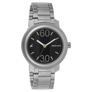 Fastrack BLACK DIAL STAINLESS STEEL STRAP WATCH - 3222SM02 price in india features reviews specs