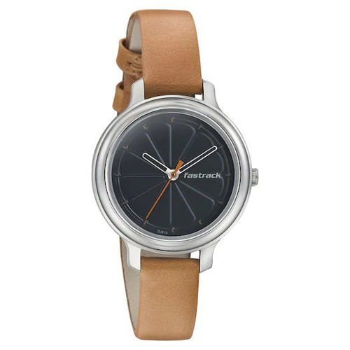 Fastrack BLACK DIAL LEATHER STRAP WATCH 6202SL01 price in india features reviews specs