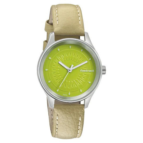 Fastrack GREEN DIAL LEATHER STRAP WATCH 6203SL01 price in india features reviews specs
