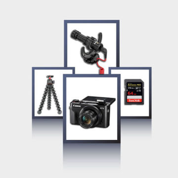 youtuber video kit,camera,memory card,rode mic,joby tripod