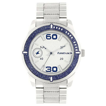 Fastrack SILVER DIAL SILVER STAINLESS STEEL STRAP WATCH - 3189KM01 price in india features reviews specs