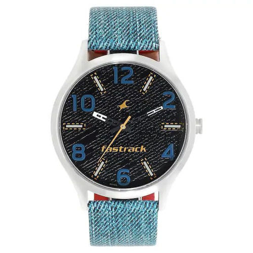 Fastrack BLACK DIAL BLUE LEATHER STRAP WATCH - 3184SL02 price in india features reviews specs