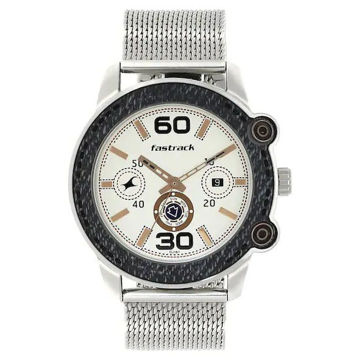 Fastrack BEIGE DIAL SILVER STAINLESS STEEL STRAP WATCH - 3188KM02 price in india features reviews specs
