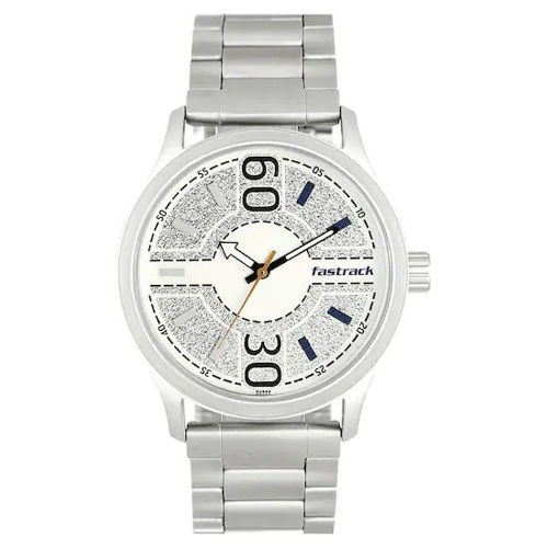 Fastrack ROAD TRIP WHITE PRINTED DIAL STAINLESS STEEL STRAP WATCH - 3197SM01 price in india features reviews specs