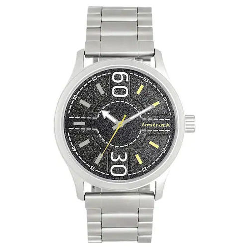 Fastrack ROAD TRIP BLACK DIAL STAINLESS STEEL STRAP WATCH - 3197SM02 price in india features reviews specs