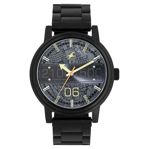 Fastrack ROAD TRIP BLACK DIAL STAINLESS STEEL STRAP WATCH- 3199NM03 price in india features reviews specs