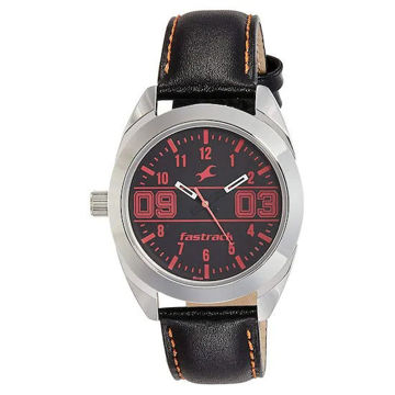 Fastrack VARSITY BLACK DIAL LEATHER STRAP WATCH - 6171SL02 price in india features reviews specs