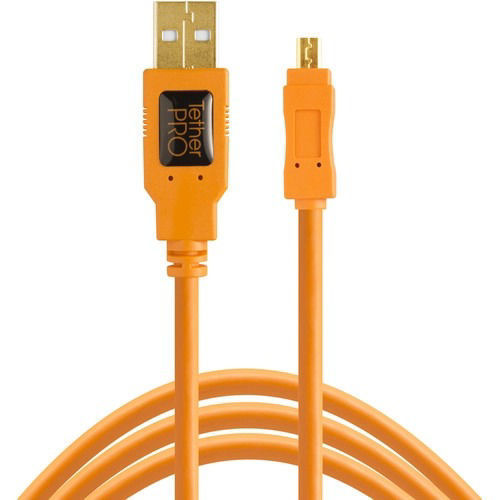 buy Tether Tools TetherPro USB 2.0 Type-A Male to Mini-B Male Cable (1', Orange) in India imastudent.com