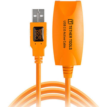 buy Tether Tools TetherPro USB 2.0 Active Extension Cable (16', Orange) in India imastudent.com
